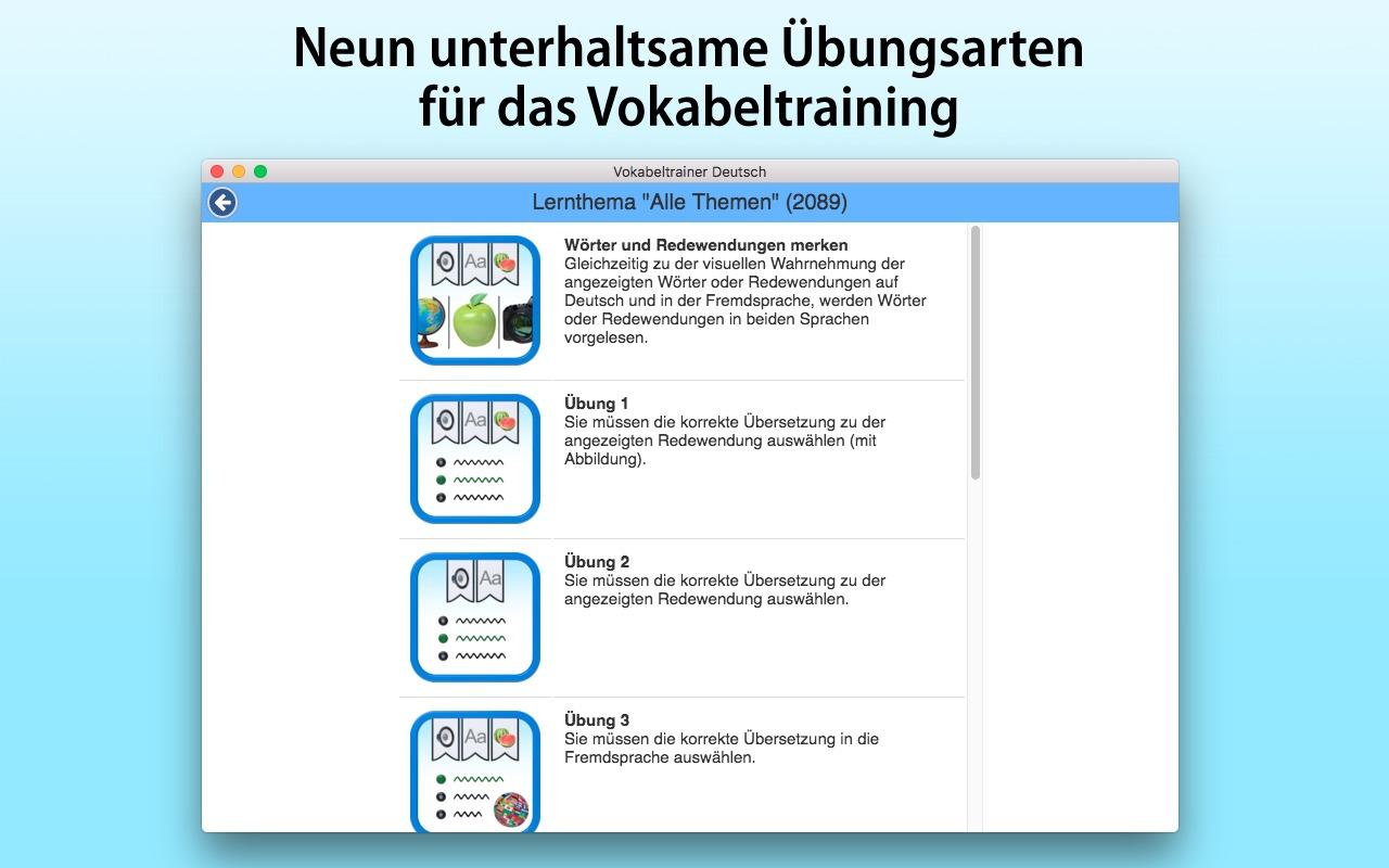 Vokabeltrainer Deutsch als Fremdsprache